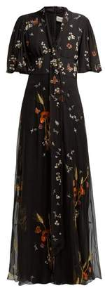 Valentino Floral Sequin Embellished Silk Chiffon Gown - Womens - Black Multi
