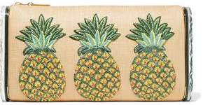 Edie Parker Jumbo Lara Pineapple Embroidered Raffia And Acrylic Box Clutch