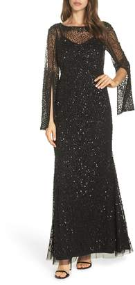 Adrianna Papell Sequin Beaded Split Cuff Gown