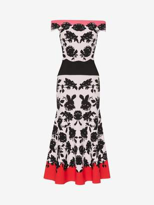 Alexander McQueen Off The Shoulder Knit Midi Dress