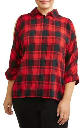 Miss Lili Women's Plus Size Plaid Relaxed Button Up Cold Shoulder Blouse