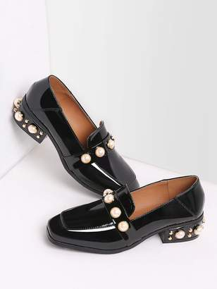 c8093db580 Shein Black Pearl Studded Patent Leather Low Heel Loafers