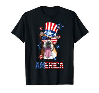 Dogs Celebrate Independence Day America Boxer Dog Owner 4th of July Mens Womens USA Flag T-Shirt