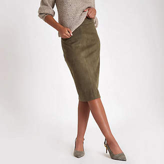 River Island Khaki faux suede pencil skirt
