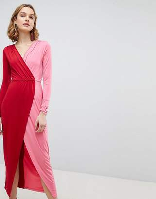 Asos Color Block Wrap Maxi Dress