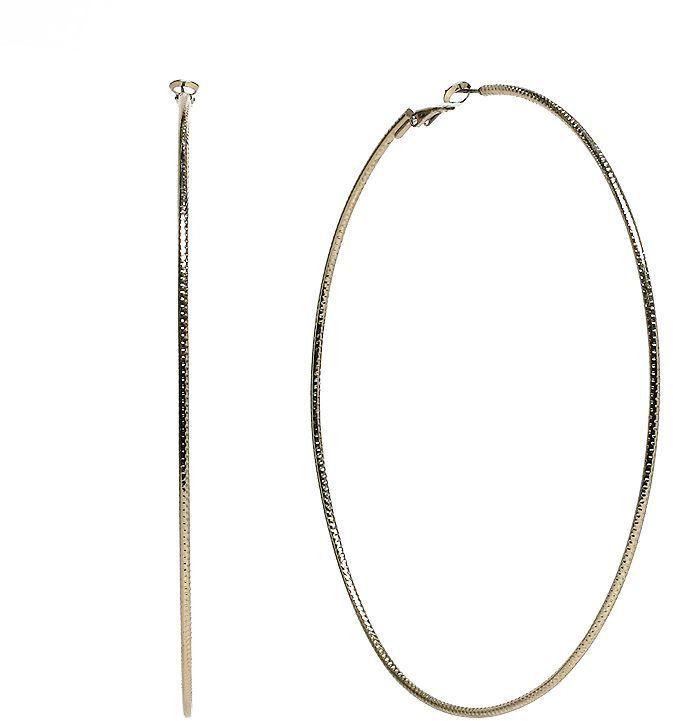 JLO by Jennifer Lopez gold tone textured hoop earrings