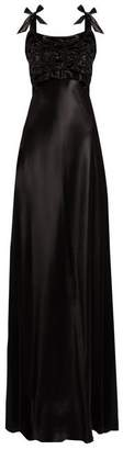 Maison Margiela Ruched Bodice Satin Gown - Womens - Black