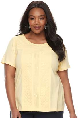 Croft & Barrow Plus Size Eyelet Tee