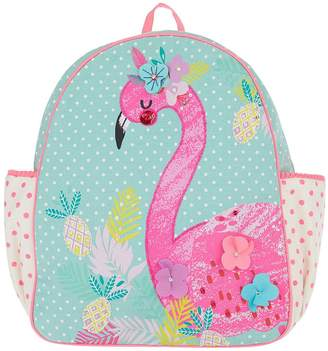 Accessorize Girls Fiona Flamingo Canvas Backpack
