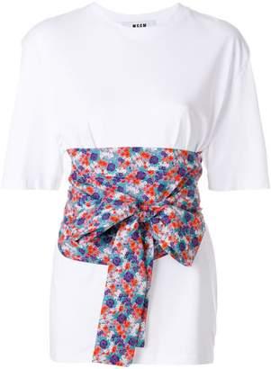 MSGM floral tie waist T-shirt