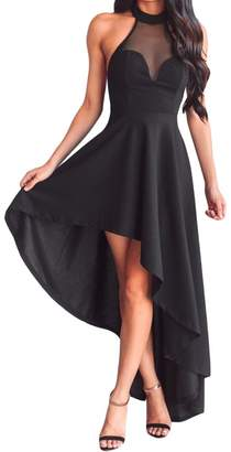 SUBWELL Women's Sheer Mesh Off Shoulder Open Back High Low Hem Cocktail Party Dress
