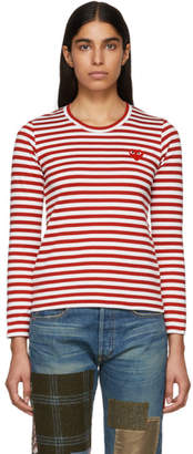 Comme des Garcons Red and White Striped Heart Patch T-Shirt