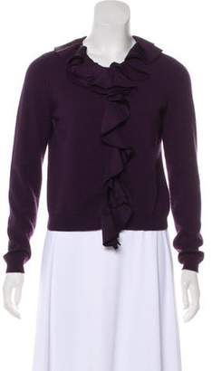 Magaschoni Ruffle-Trimmed Cashmere Cardigan