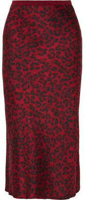 Anine Bing Bar Leopard-print Silk-satin Midi Skirt - Red