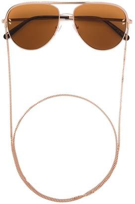 Stella McCartney Eyewear chain trim strap aviator sunglasses