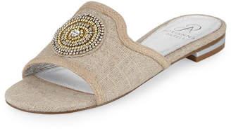 Adrianna Papell London Beaded Slide Sandal, Sand Linen