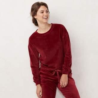 Lauren Conrad Women's Weekend Drawstring-Hem Velvet Sweatshirt