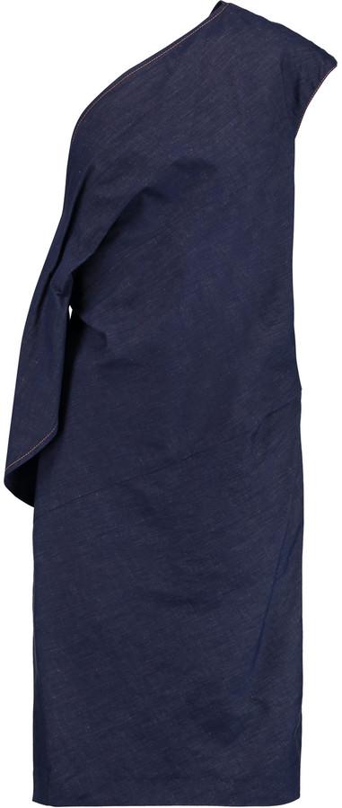 Emilio PucciEmilio Pucci One-shoulder cotton-blend chambray dress