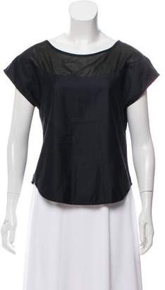 Geoffrey Beene Sheer-Paneled Short Sleeve Top