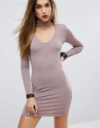Motel Bodycon Dress With Choker Detail