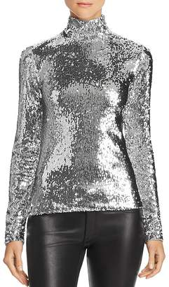 Milly Sequined Mock Neck Top