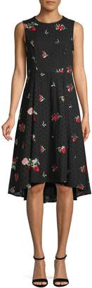 Calvin Klein Embroidered Floral Cotton A-Line Dress