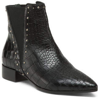 Made In Italy Studded Chelsea Leather Booties