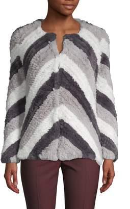 Stella + Lorenzo Striped Faux Fur Jacket