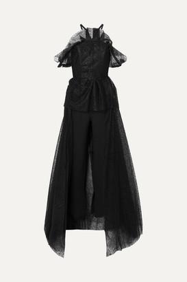Roland Mouret Kendray Cold-shoulder Crepe And Flocked Tulle Jumpsuit - Black