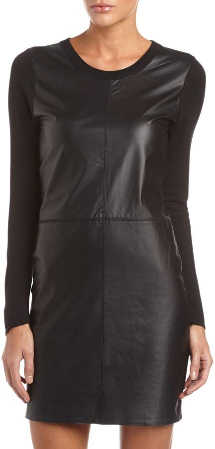 Neiman Marcus Leather-Front Cashmere Sweater Dress, Tuxedo