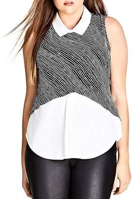 City Chic Plus Layered-Look Sleeveless Shirt