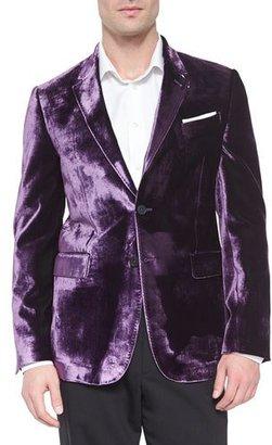 Paul Smith Bayard Liquid Velvet Two-Button Jacket, Purple $1,125 thestylecure.com
