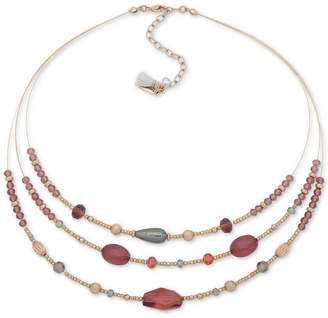 """lonna & lilly Gold-Tone Stone Three Layer Statement Necklace, 16"""" + 3"""" extender"""