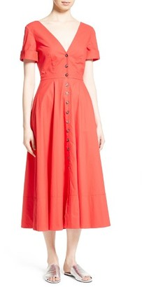 Women's Saloni Zoey Stretch Cotton Midi Dress $470 thestylecure.com