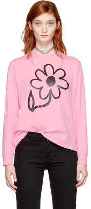 Ashley Williams SSENSE Exclusive Pink Long Sleeve Flower T-Shirt