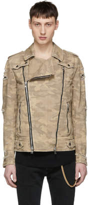 Balmain Beige Camo Denim Bleach Destroy Biker Jacket