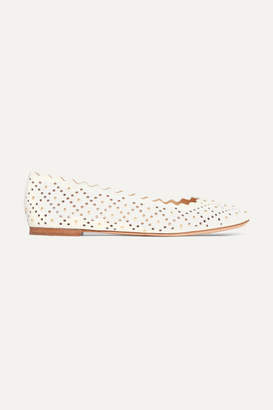 Chloé Lauren Scalloped Studded Laser-cut Leather Ballet Flats - White