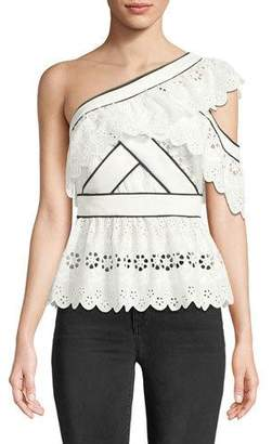 Self-Portrait One-Shoulder Broderie Anglaise Frill Top