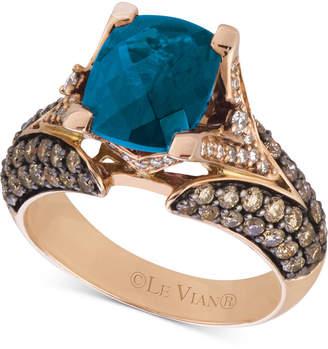 LeVian Le Vian Chocolatier Deep Sea Blue Topaz (3-3/8 ct. t.w.) & Diamond (1-1/5 ct. t.w.) Ring in 14k Rose Gold