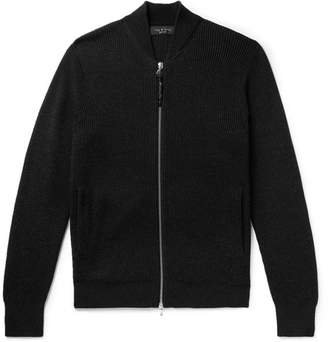 Rag & Bone Andrew Slim-Fit Ribbed Merino Wool-Blend Zip-Up Cardigan - Men - Black