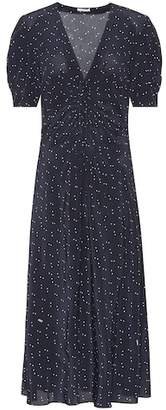 Miu Miu Star-printed silk midi dress