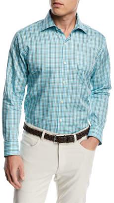 Peter Millar Crown Soft Hawksbill Plaid Shirt, Bright Blue