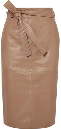 Equipment Alouetta Belted Leather Skirt - Tan