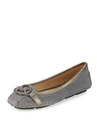 MICHAEL Michael Kors Fulton Glitter Chain-Mail Moccasin, Black/Silver $99 thestylecure.com