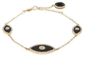 14K Diamond Evil Eye Bracelet