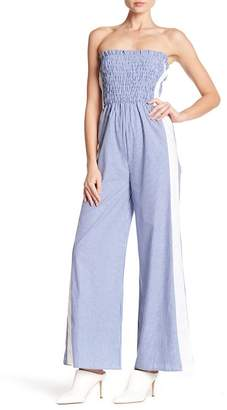 Know One Cares Smocked Stripe Jumpsuit
