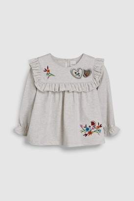 Next Girls Red Heart Embroidered Top (3mths-6yrs)