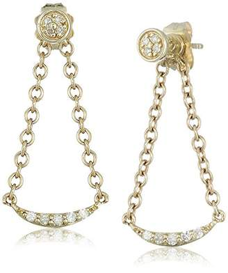 10k Gold Diamond Trillion Dangle Earrings (1/10cttw