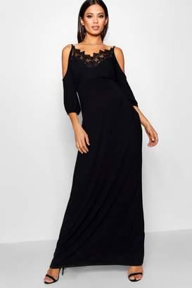 boohoo Maternity Lace Cold Shoulder Maxi Dress
