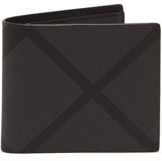 Burberry London Check Leather Trimmed Billfold Wallet - Mens - Grey